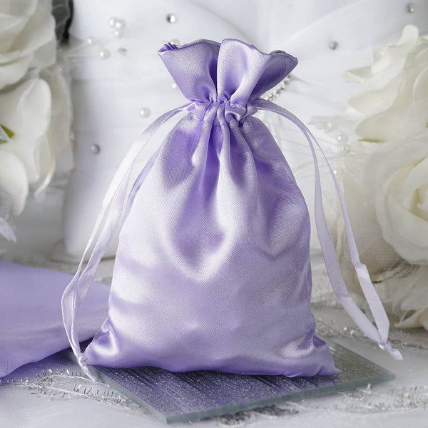 "Pack of 12 - 4""x6"" Lavender Satin Party Favor Bags, Drawstring Pouch Gift Bags"