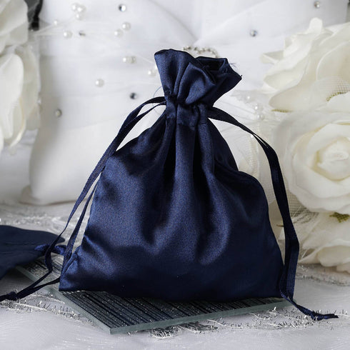 "12 Pack | 4""x6"" Navy Blue Satin Favor Bags Party Drawstring Pouches"