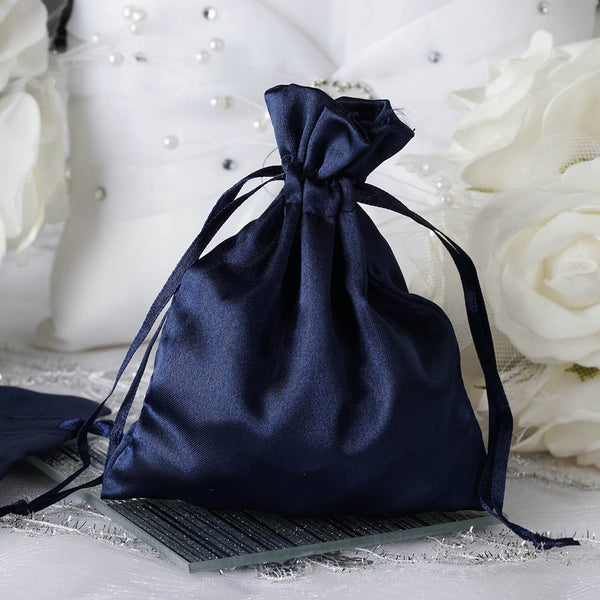 "Pack of 12 - 4""x6"" Navy Blue Satin Party Favor Bags, Drawstring Pouch Gift Bags"