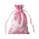 "4x6"" Satin Drawstring Bags - Pink - 12 Pack"