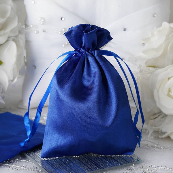 "Pack of 12 - 4""x6"" Royal Blue Satin Party Favor Bags, Drawstring Pouch Gift Bags"