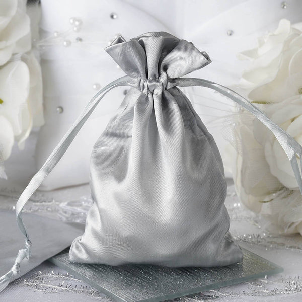 "Pack of 12 - 4""x6"" Silver Satin Party Favor Bags, Drawstring Pouch Gift Bags"