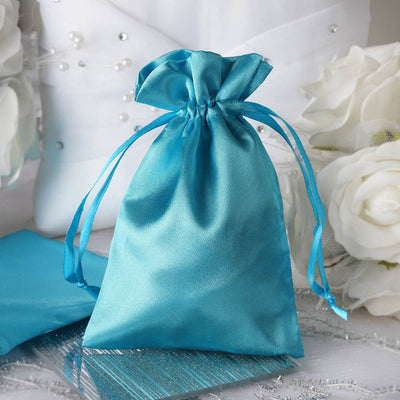 "4 x 6"" Turquoise Satin Bags"
