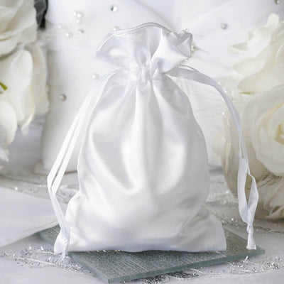 "12 Pack | 4""x6"" White Satin Favor Bags Party Drawstring Pouches"
