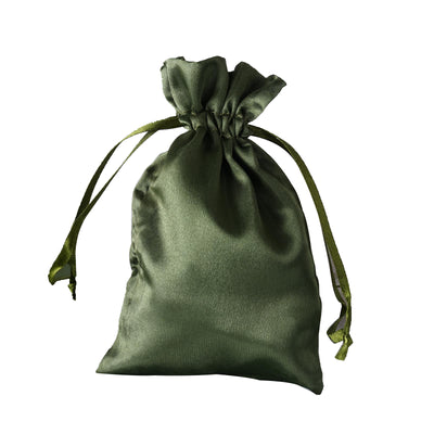 "4x6"" Satin Drawstring Bags - Moss/Willow - 12 Pack"