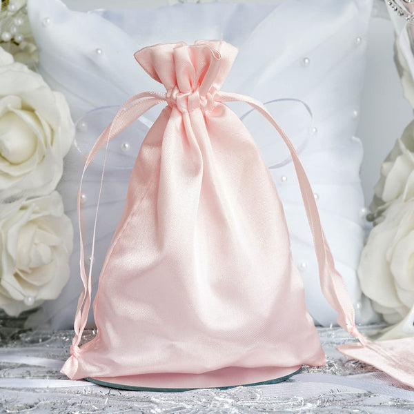 "Pack of 12 - 5""x7"" Satin Party Favor Bags, Drawstring Pouch Gift Bags - Blush,Rose Gold"