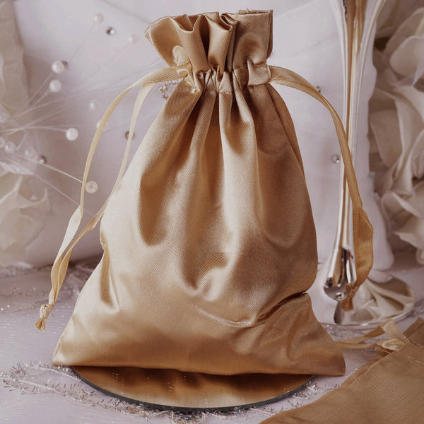 "Pack of 12 - 5""x7"" Antique Gold Satin Party Favor Bags, Drawstring Pouch Gift Bags"