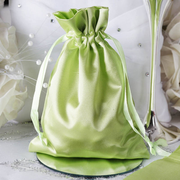 "Pack of 12 - 5""x7"" Apple Green Satin Party Favor Bags, Drawstring Pouch Gift Bags"