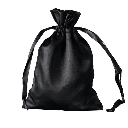 "5x7"" Satin Drawstring Bags - Black - 12 Pack"
