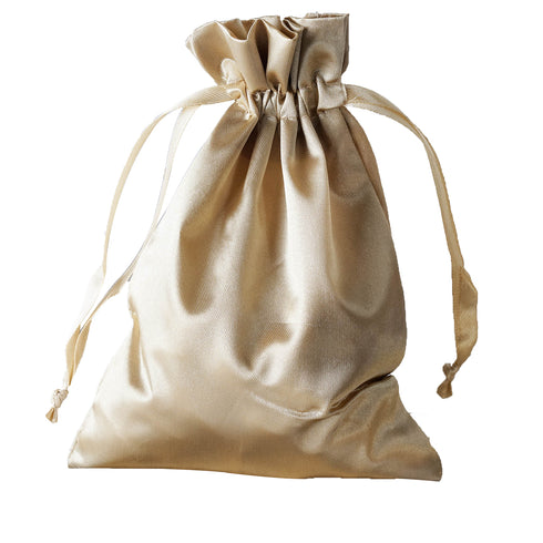 "5x7"" Satin Drawstring Bags - Champagne - 12 Pack"