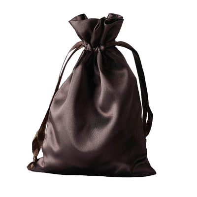 "5x7"" Satin Drawstring Bags - Chocolate - 12 Pack"