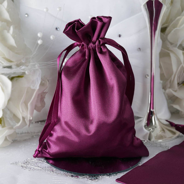 "Pack of 12 - 5""x7"" Eggplant Satin Party Favor Bags, Drawstring Pouch Gift Bags"