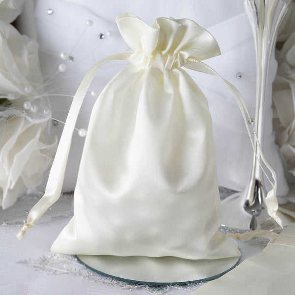 "Pack of 12 - 5""x7"" Ivory Satin Party Favor Bags, Drawstring Pouch Gift Bags"