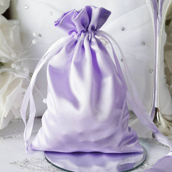 "Pack of 12 - 5""x7"" Lavender Satin Party Favor Bags, Drawstring Pouch Gift Bags"