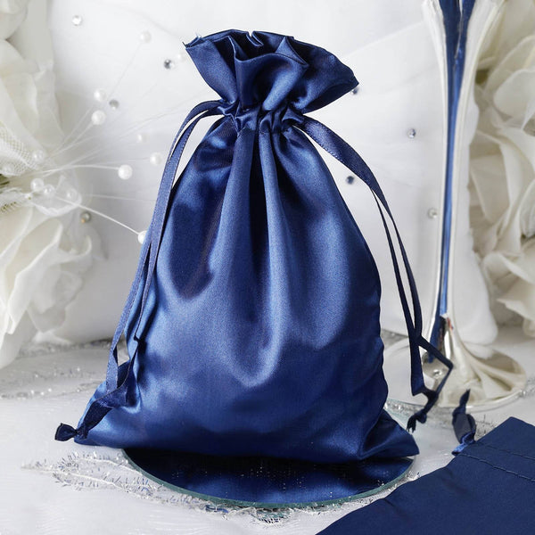 "Pack of 12 - 5""x7"" Navy Blue Satin Party Favor Bags, Drawstring Pouch Gift Bags"