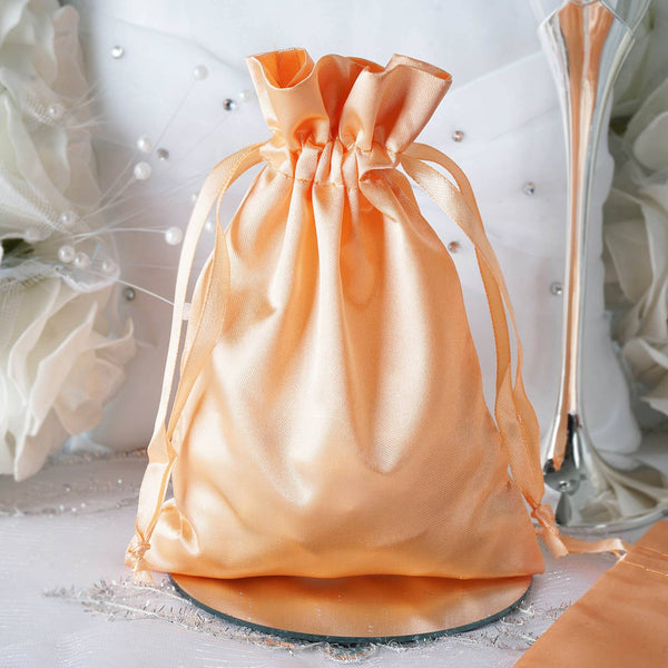 "Pack of 12 - 5""x7"" Peach Satin Party Favor Bags, Drawstring Pouch Gift Bags"