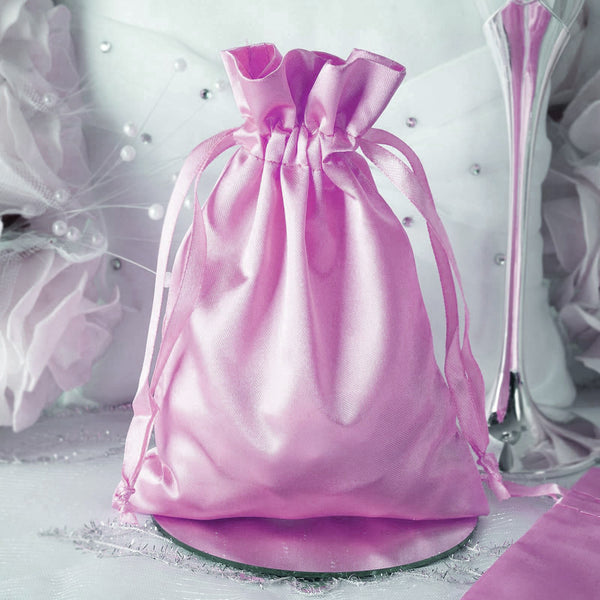 "Pack of 12 - 5""x7"" Pink Satin Party Favor Bags, Drawstring Pouch Gift Bags"