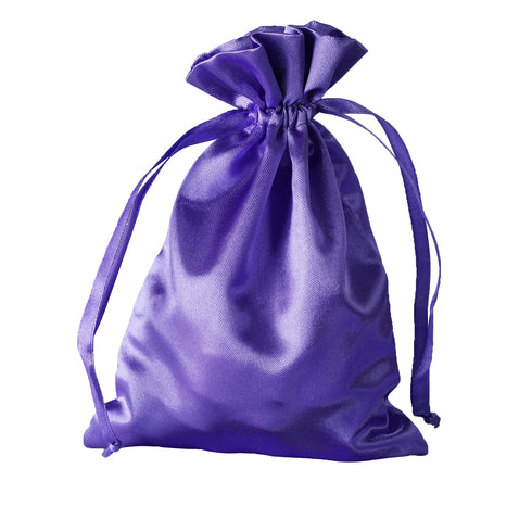 "5x7"" Satin Drawstring Bags - Purple - 12 Pack"