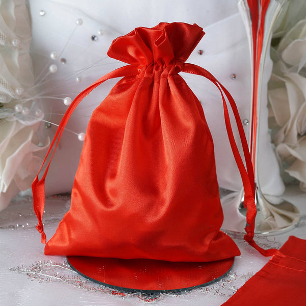 "Pack of 12 - 5""x7"" Red Satin Party Favor Bags, Drawstring Pouch Gift Bags"