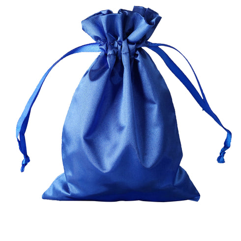 "5x7"" Satin Drawstring Bags - Royal Blue - 12 Pack"
