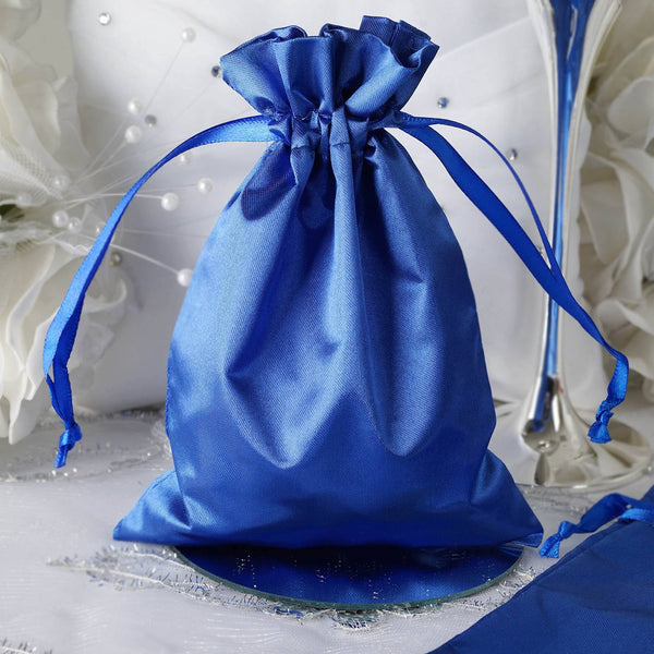 "Pack of 12 - 5""x7"" Royal Blue Satin Party Favor Bags, Drawstring Pouch Gift Bags"