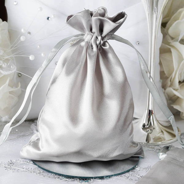 "Pack of 12 - 5""x7"" Silver Satin Party Favor Bags, Drawstring Pouch Gift Bags"