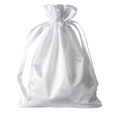 "5x7"" Satin Drawstring Bags - White - 12 Pack"