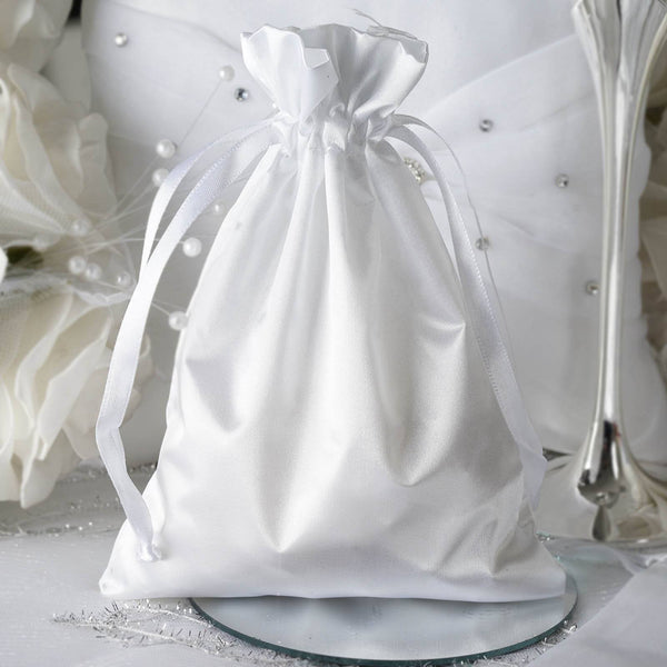"Pack of 12 - 5""x7"" White Satin Party Favor Bags, Drawstring Pouch Gift Bags"