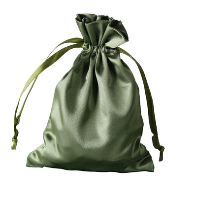 "5x7"" Satin Drawstring Bags - Moss/Willow - 12 Pack"