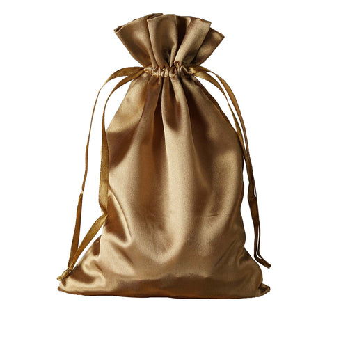 "6x9"" Satin Drawstring Bags - Antique Gold - 12 Pack"