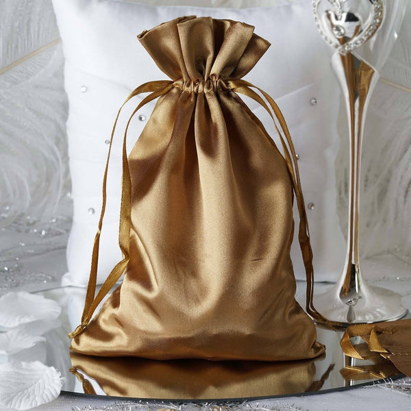 "Pack of 12 - 6""x9"" Antique Gold Satin Party Favor Bags, Drawstring Pouch Gift Bags"