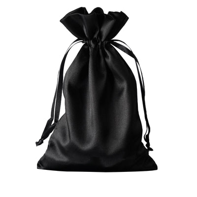 "6x9"" Satin Drawstring Bags - Black - 12 Pack"