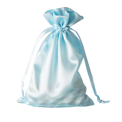 "6x9"" Satin Drawstring Bags - Baby Blue - 12 Pack"