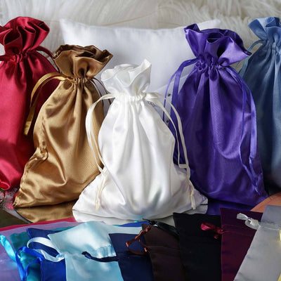 "12 Pack | 6""x9"" Burgundy Satin Favor Bags Party Drawstring Pouches"