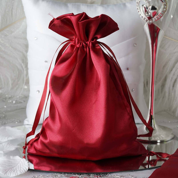 "Pack of 12 - 6""x9"" Burgundy Satin Party Favor Bags, Drawstring Pouch Gift Bags"