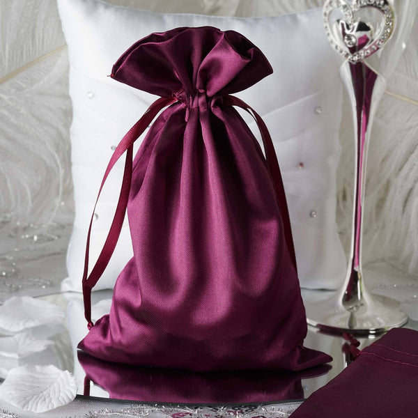 "Pack of 12 - 6""x9"" Eggplant Satin Party Favor Bags, Drawstring Pouch Gift Bags"