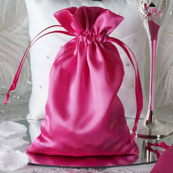 "Pack of 12 - 6""x9"" Fuchsia Satin Party Favor Bags, Drawstring Pouch Gift Bags"