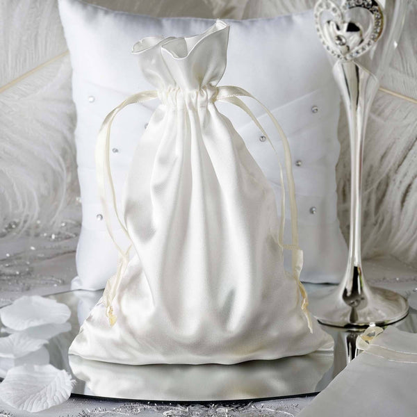 "Pack of 12 - 6""x9"" Ivory Satin Party Favor Bags, Drawstring Pouch Gift Bags"