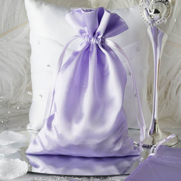 "Pack of 12 - 6""x9"" Lavender Satin Party Favor Bags, Drawstring Pouch Gift Bags"