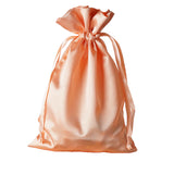 "6x9"" Satin Drawstring Bags - Peach - 12 Pack"
