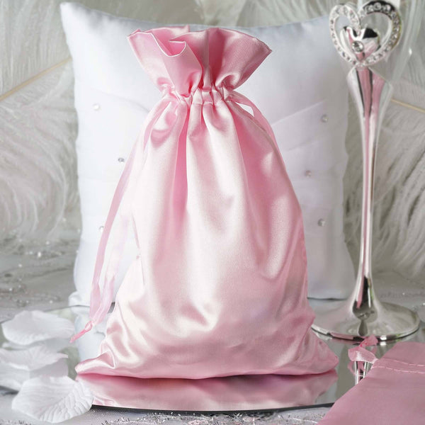 "Pack of 12 - 6""x9"" Pink Satin Party Favor Bags, Drawstring Pouch Gift Bags"