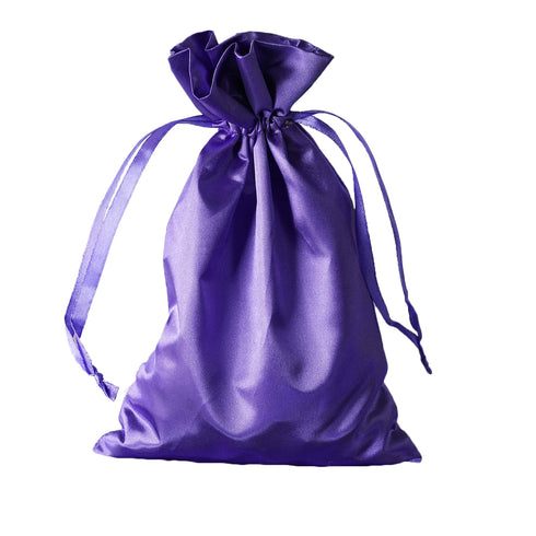 "6x9"" Satin Drawstring Bags - Purple - 12 Pack"