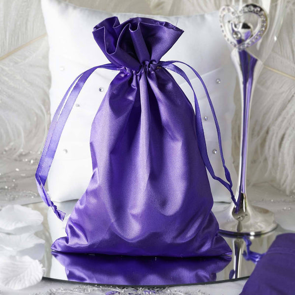 "Pack of 12 - 6""x9"" Purple Satin Party Favor Bags, Drawstring Pouch Gift Bags"