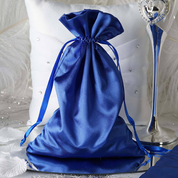 "Pack of 12 - 6""x9"" Royal Blue Satin Party Favor Bags, Drawstring Pouch Gift Bags"