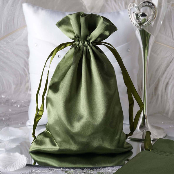 "Pack of 12 - 6""x9"" Moss Green Satin Party Favor Bags, Drawstring Pouch Gift Bags"