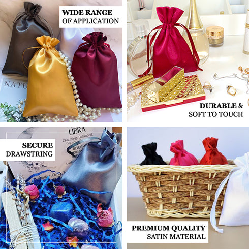 "Pack of 12 - 5""x7"" Chocolate Satin Party Favor Bags, Drawstring Pouch Gift Bags"