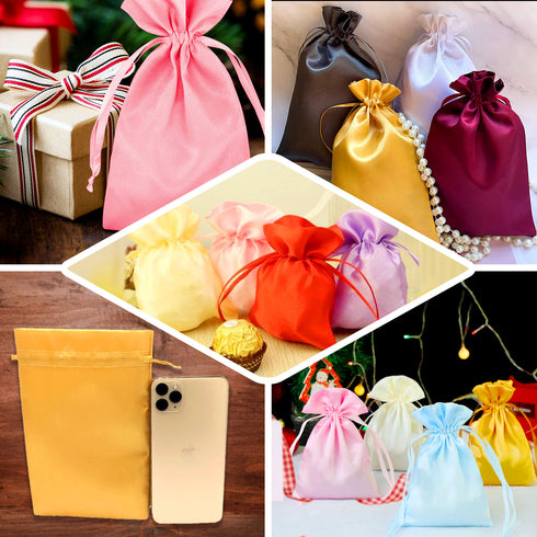 "Pack of 12 - 3""x4"" Chocolate Satin Party Favor Bags, Drawstring Pouch Gift Bags"