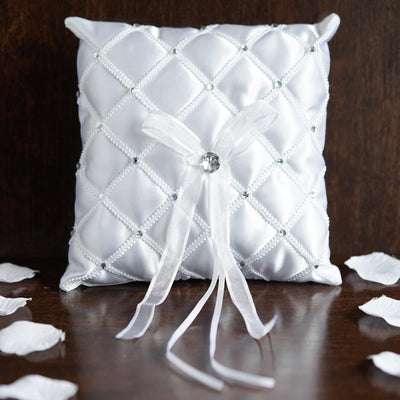 Royal Treatment Rhinestone Ring Pillow - White