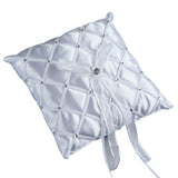 "7"" Satin Rhinestone Studded Bow Ring Bearer Pillow - White"