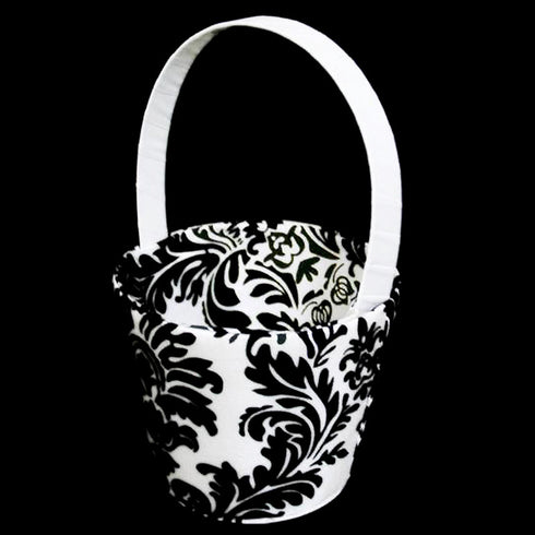Flocking Flower Girl Basket - Black/White